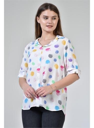Rodi Jeans Kadın Renkli Baskılı Gömlek DS21YB033925 Beyaz